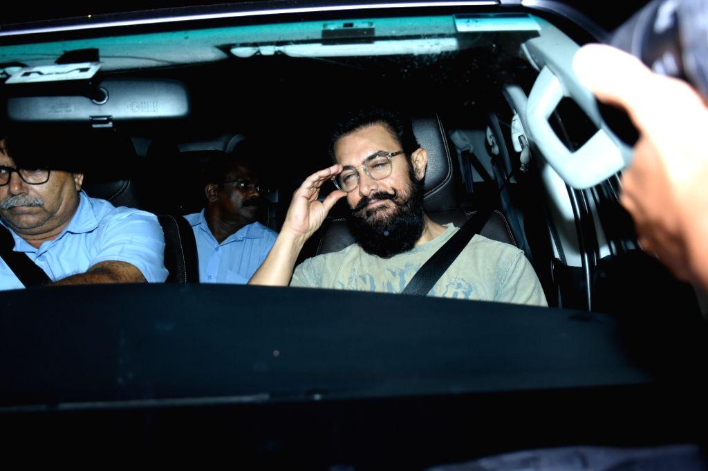 Actor Aamir Khan at the birthday bash of actor Ranbir Kapoor, in Mumbai on Sep 27, 2019. - Aamir Khan and Ranbir Kapoor