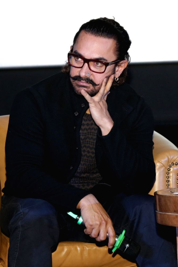 Actor Aamir Khan at the launch of PVR'S first fully digital loyalty program in New Delhi, on Oct 10, 2017. - Aamir Khan