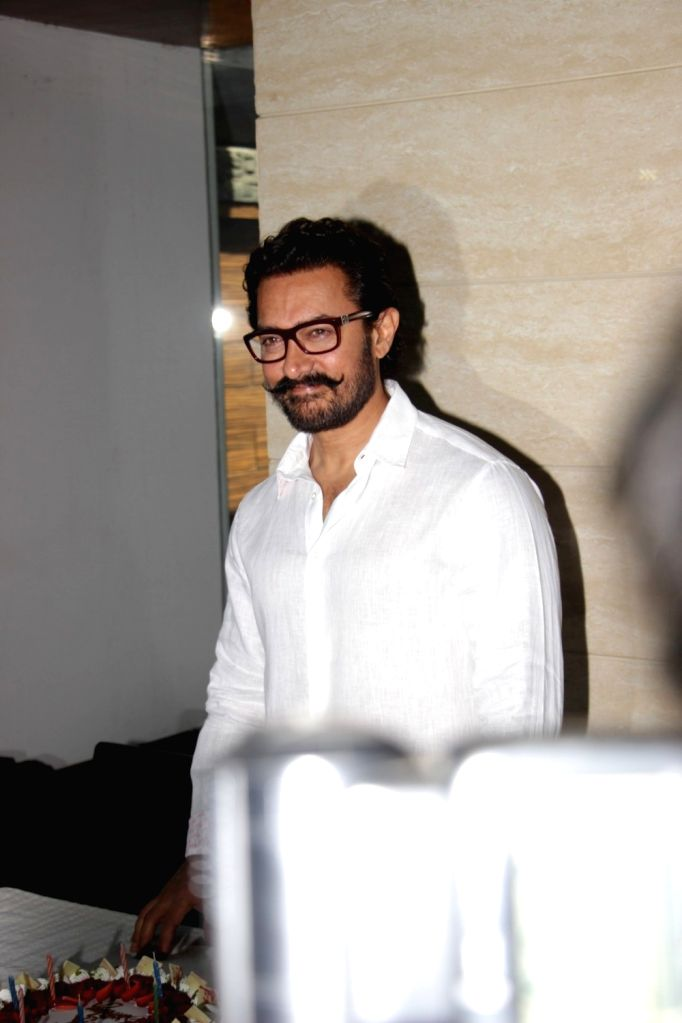 Actor Aamir Khan during his 52 birthday celebration in Mumbai on March 14, 2017. - Aamir Khan