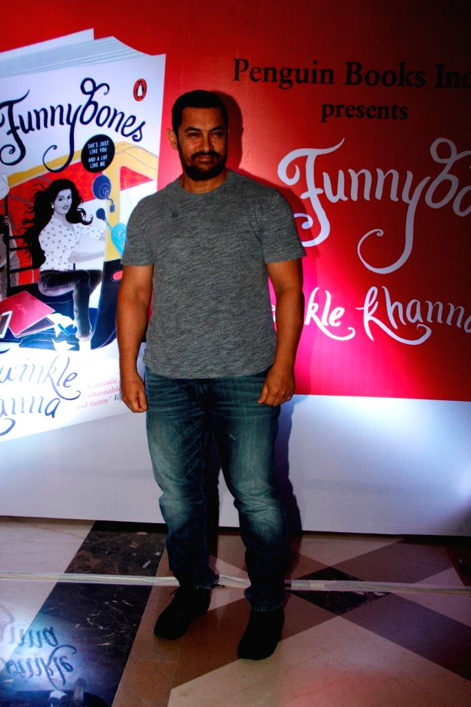 Actor Aamir Khan during the launch of her book Mrs.Funnybones, in Mumbai, on Aug 18, 2015. - Aamir Khan