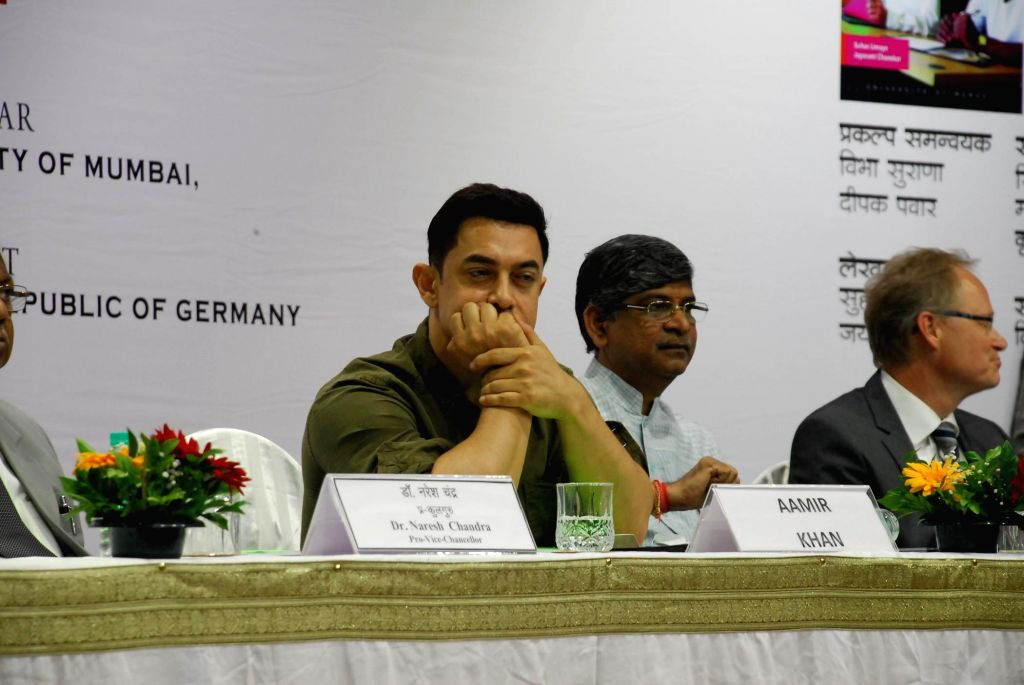 Actor Aamir Khan during the launch of the book My Marathi: Communicative Marathi For Beginners - Level 1, at the University of Mumbai, Kalina Campus on August 13, 2014. - Aamir Khan