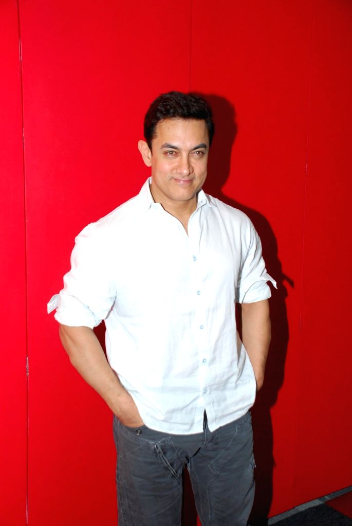 Actor Aamir Khan during the promotion of the film PK in Mumbai, on Dec 5, 2014. - Aamir Khan