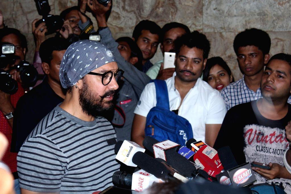 Actor Aamir Khan during the screening of making of film Dangal in Mumbai, on Nov 28, 2016. - Aamir Khan
