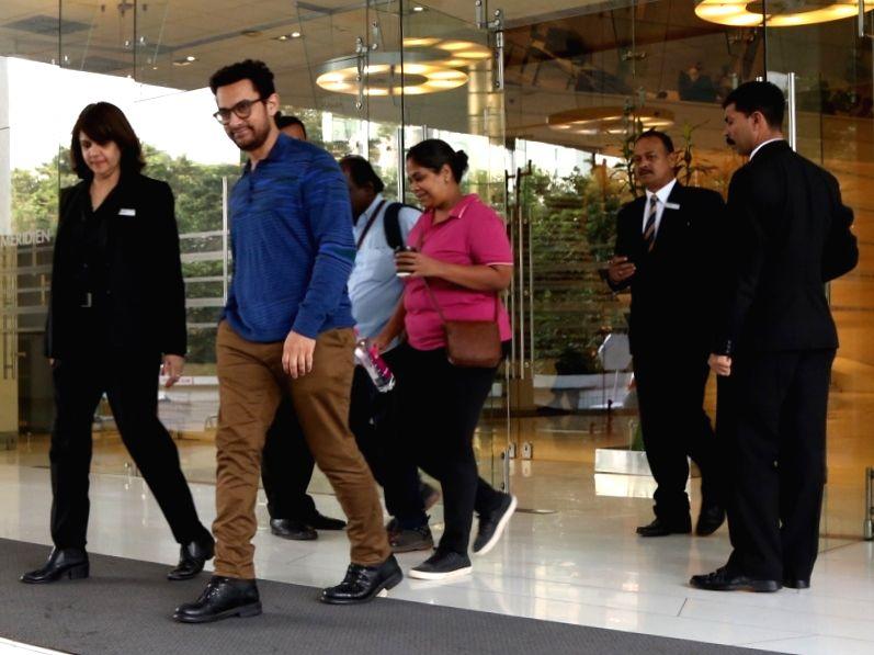 Actor Aamir Khan seen at a hotel in New Delhi on Oct 24, 2018. - Aamir Khan