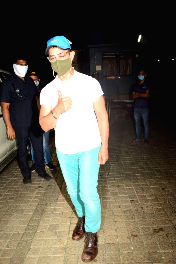 Actor Aamir Khan seen at PVR Juhu in Mumbai on Nov 17, 2020. - Aamir Khan