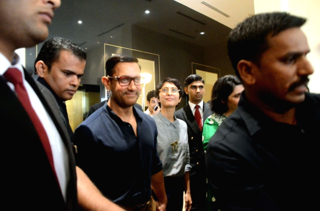 "Actor Aamir Khan with his wife Kiran Rao during the launch of ""Jaslok FertilTree"" International Fertility Centre in Mumbai on Aug 15, 2016. - Aamir Khan and Kiran Rao"