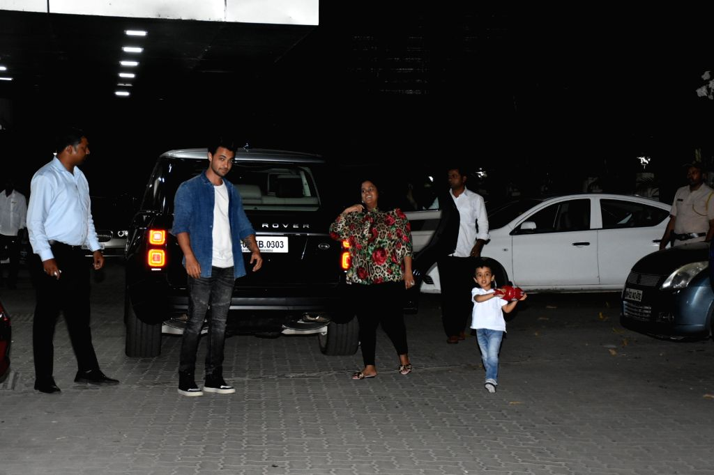 Actor Aayush Sharma with his wife Arpita Khan and son Ahil Sharma seen outside actor Sohail Khan's house in Mumbai, on May 12, 2019. - Aayush Sharma, Arpita Khan, Ahil Sharma and Sohail Khan