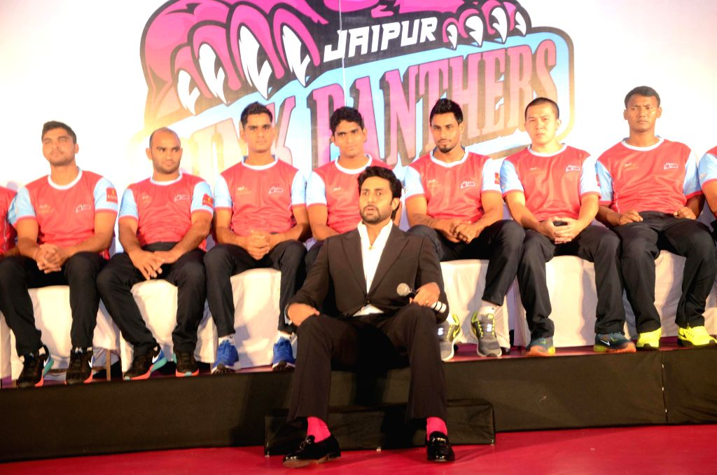 Actor Abhishek Bachchan during a a press conference regarding kabaddi team - `Jaipur Pink Panthers` ahead of World Kabaddi League (WKL) in Mumbai on July 25, 2014. - Abhishek Bachchan