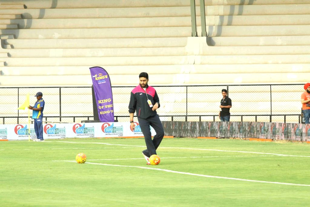 Actor Abhishek Bachchan during a celebrity football match between All Heart Football Club and All Stars Football Club, in Mumbai, on June 4, 2016. The model-turned actress converted herself ... - Abhishek Bachchan