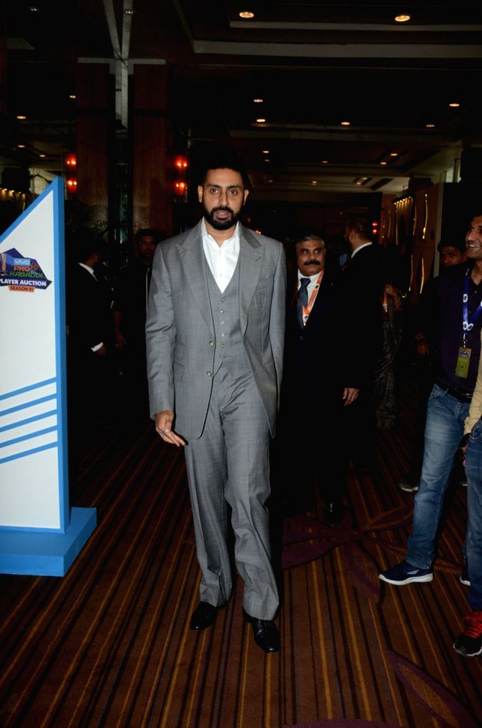 Actor Abhishek Bachchan during a Pro Kabaddi League press conference, in Mumbai on May 30, 2018. - Abhishek Bachchan