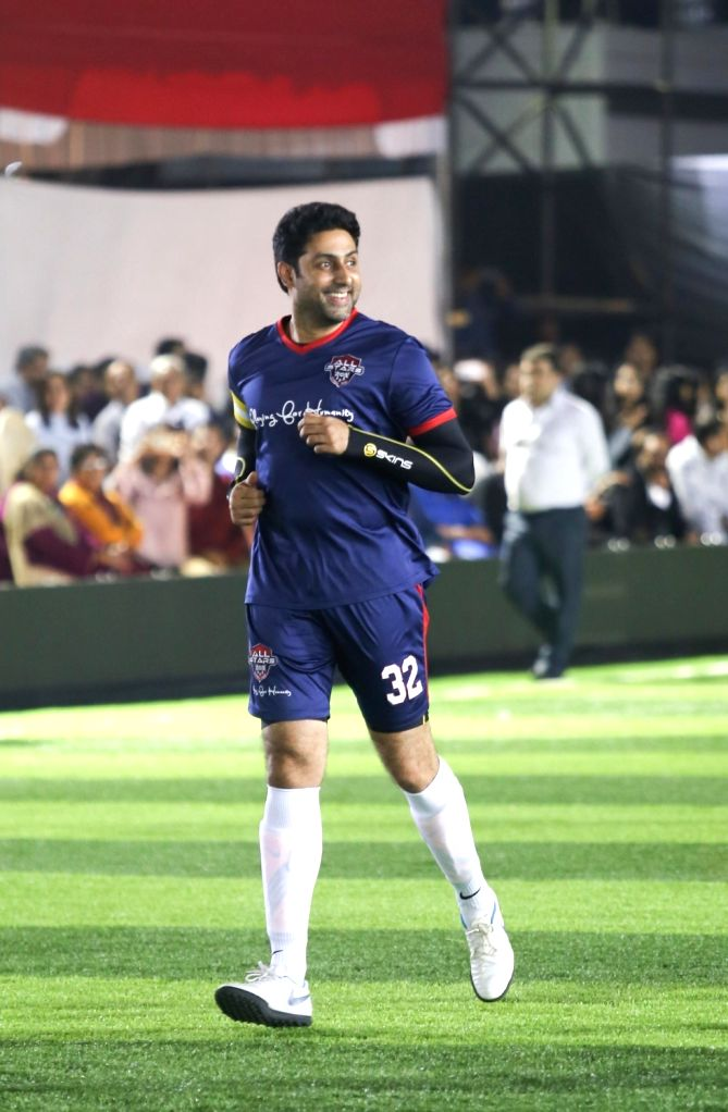 Actor Abhishek Bachchan during Jamnabai Narsee Football match in Mumbai on Dec 11, 2018. - Abhishek Bachchan