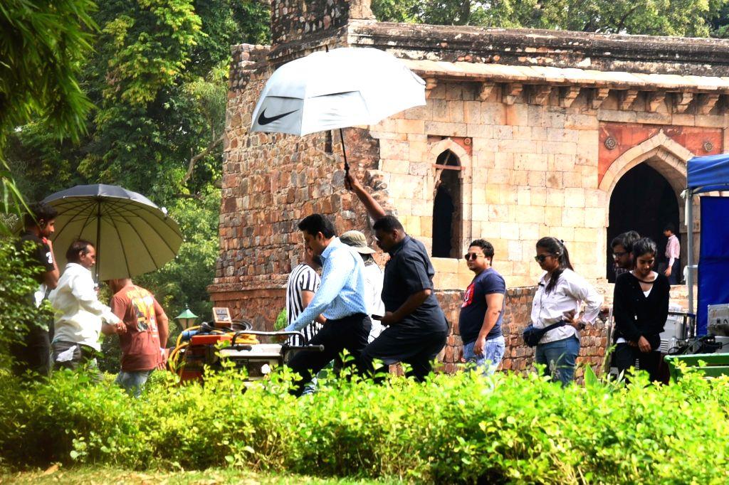 "Actor Abhishek Bachchan during shooting of upcoming film ""The Big Bull"" at Lodhi Garden in New Delhi on Oct 7, 2019. - Abhishek Bachchan"