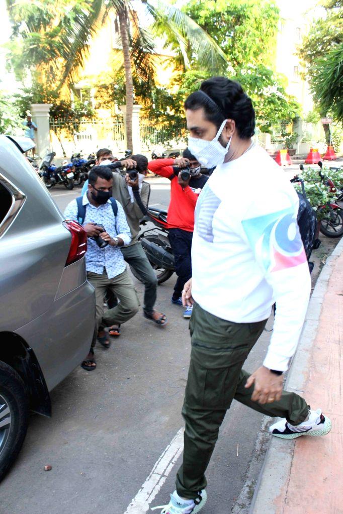 Actor Abhishek Bachchan seen at a dubbing studio in Mumbai's Juhu on June 25, 2020. - Abhishek Bachchan
