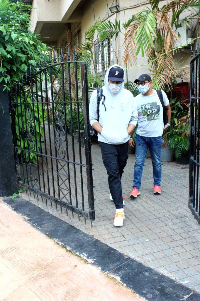 Actor Abhishek Bachchan seen at a dubbing studio in Mumbai's Juhu on June 27, 2020. - Abhishek Bachchan