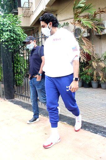 Actor Abhishek Bachchan seen at a dubbing studio in Mumbai's Juhu on June 30, 2020. - Abhishek Bachchan