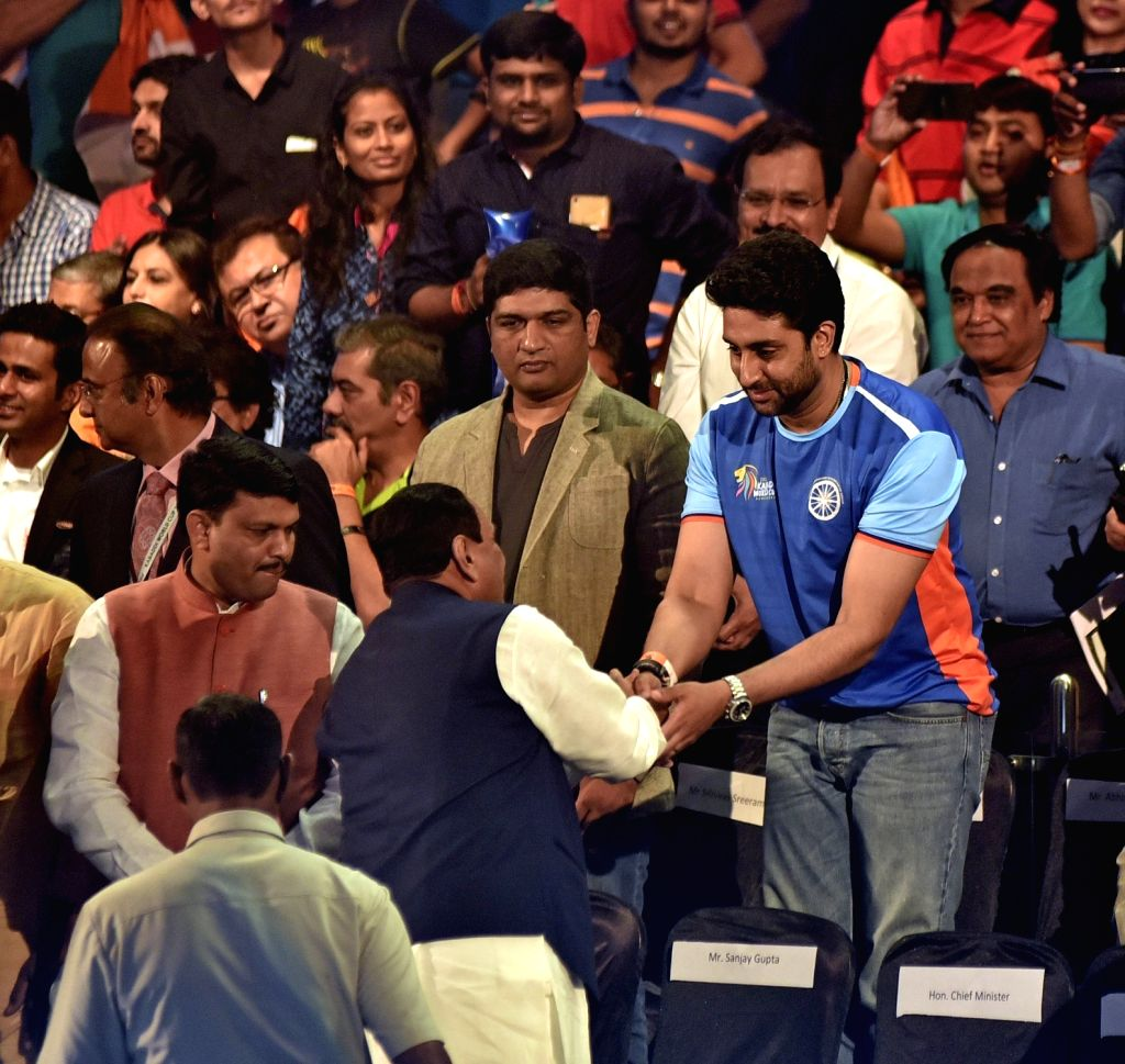 Actor Abhishek Bachchan with Gujarat Chief Minister Vijay Rupani at the inaugural ceremony of 2016 Kabaddi World Cup  in Ahmedabad on Oct 7, 2016. Korea won. Score: 32- 34. - Abhishek Bachchan
