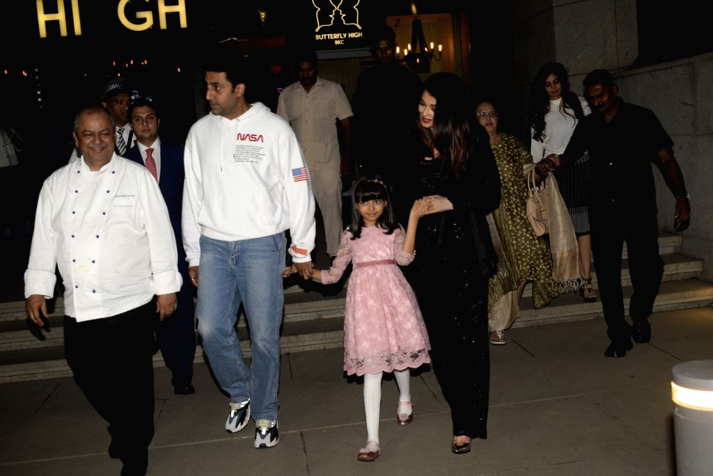 Actor Abhishek Bachchan with his wife Aishwarya Rai Bachchan and daughter Aaradhya Bachchan during a dinner hosted by him on his birthday in Mumbai, on Feb 5, 2019. - Abhishek Bachchan, Aishwarya Rai Bachchan and Aaradhya Bachchan