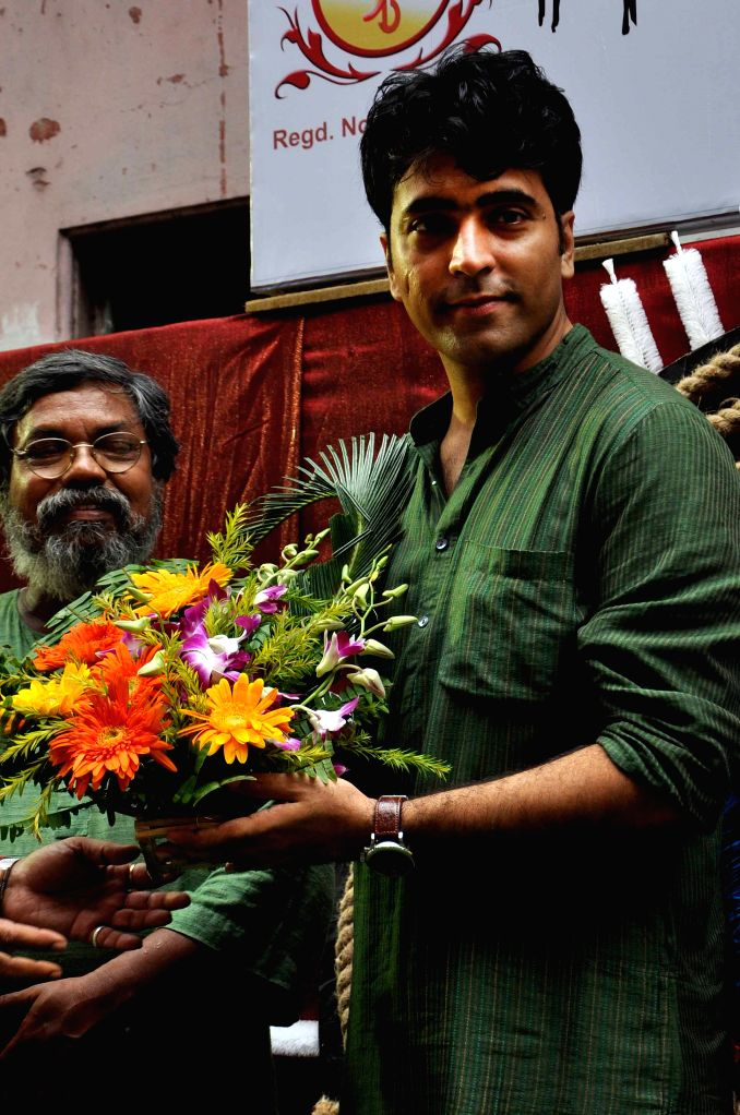 Actor Abir Chatterjee during Khunti Puja - that marks the beginning of preparations for Durga puja - at Nalin Sarkar street in Kolkata, on Aug 16, 2015.