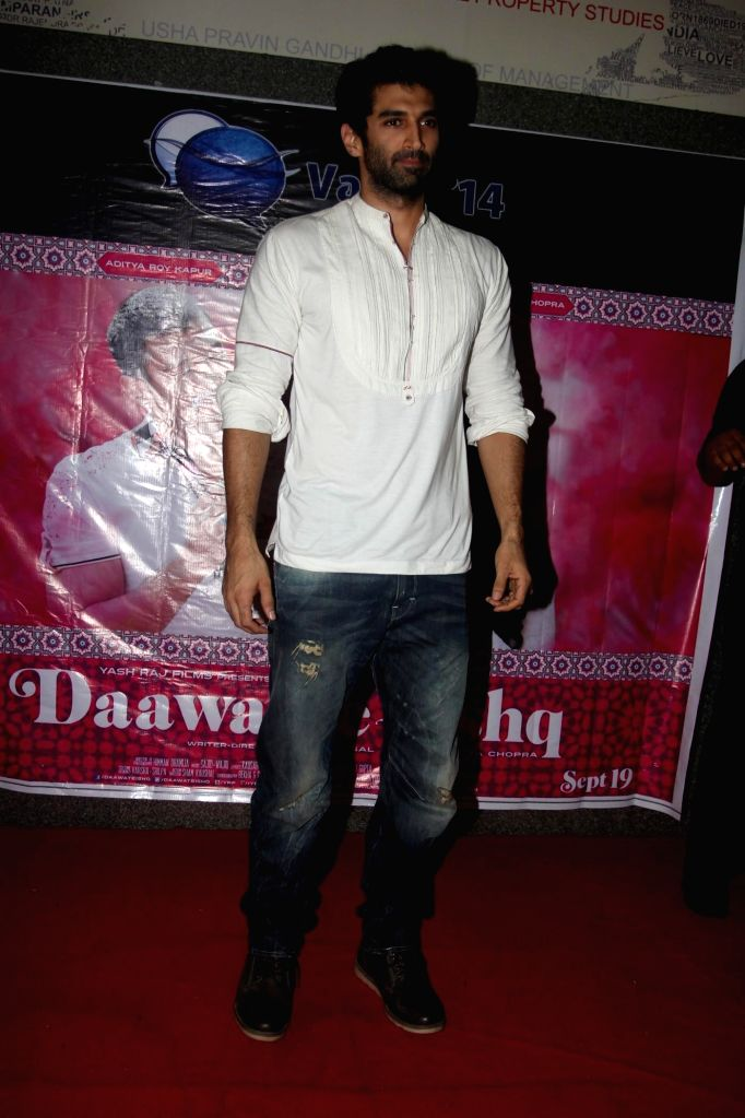 Actor Aditya Roy Kapur promoted his upcoming film Daawat-e-Ishq during the inauguration of Vaayu festival of Narsee Monjee Institute of Management Studies (NMIMS) in Mumbai, on Sept. 5, 2014. - Aditya Roy Kapur