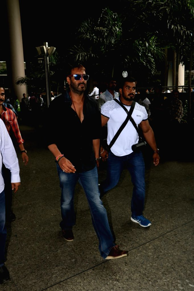 Actor Ajay Devgan spotted at airport in Mumbai, on Aug 17, 2017. - Ajay Devgan