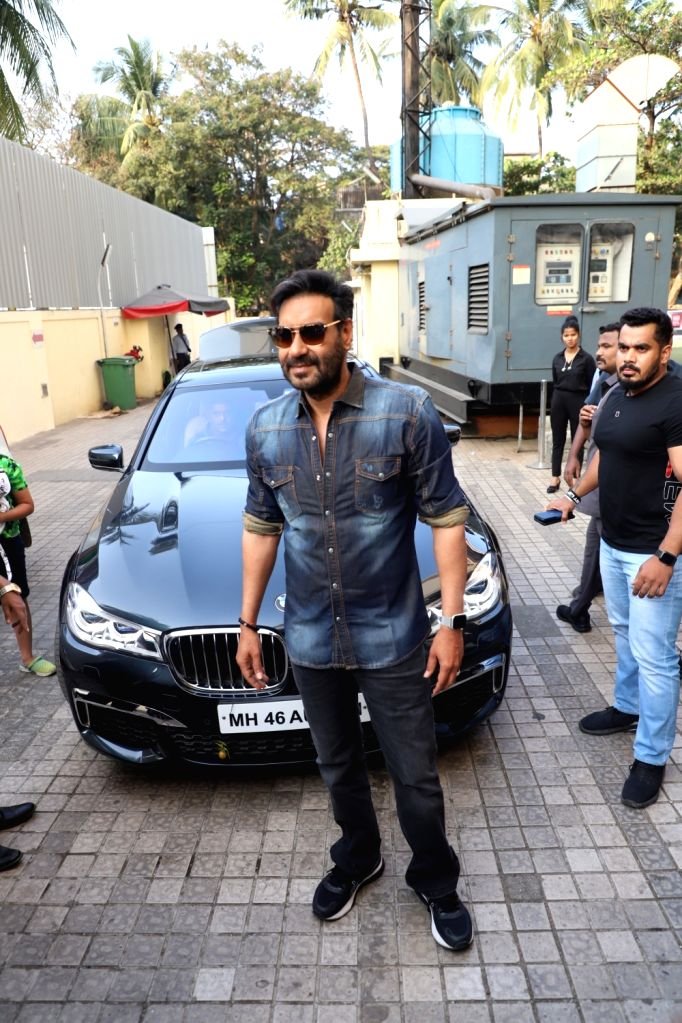 "Actor Ajay Devgn at the special screening of his upcoming film ""Tanhaji: The Unsung Warrior"" in Mumbai on Jan 9, 2020. - Ajay Devgn"