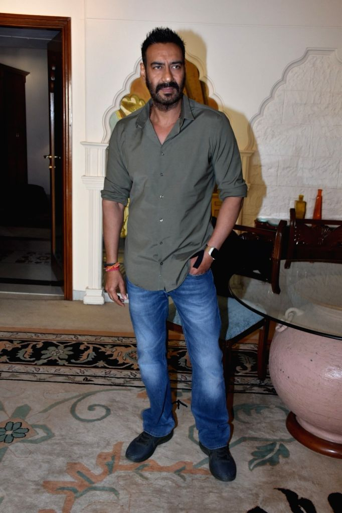 """Actor Ajay Devgn during media interactions of his upcoming film """"Total Dhamaal"""" in Mumbai, on Feb 14, 2019. - Ajay Devgn"""