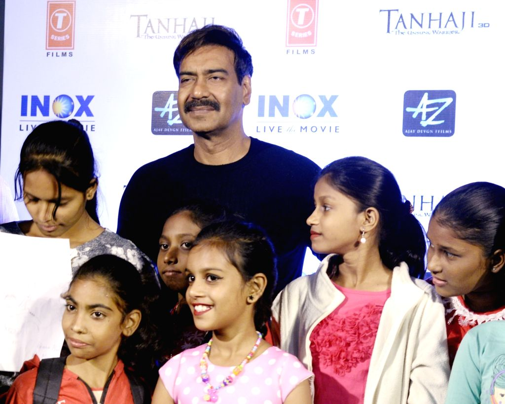 Actor Ajay Devgn during the promotion of his upcoming film 'Tanhaji: The Unsung Warrior' in Kolkata on Dec 3, 2019. - Ajay Devgn