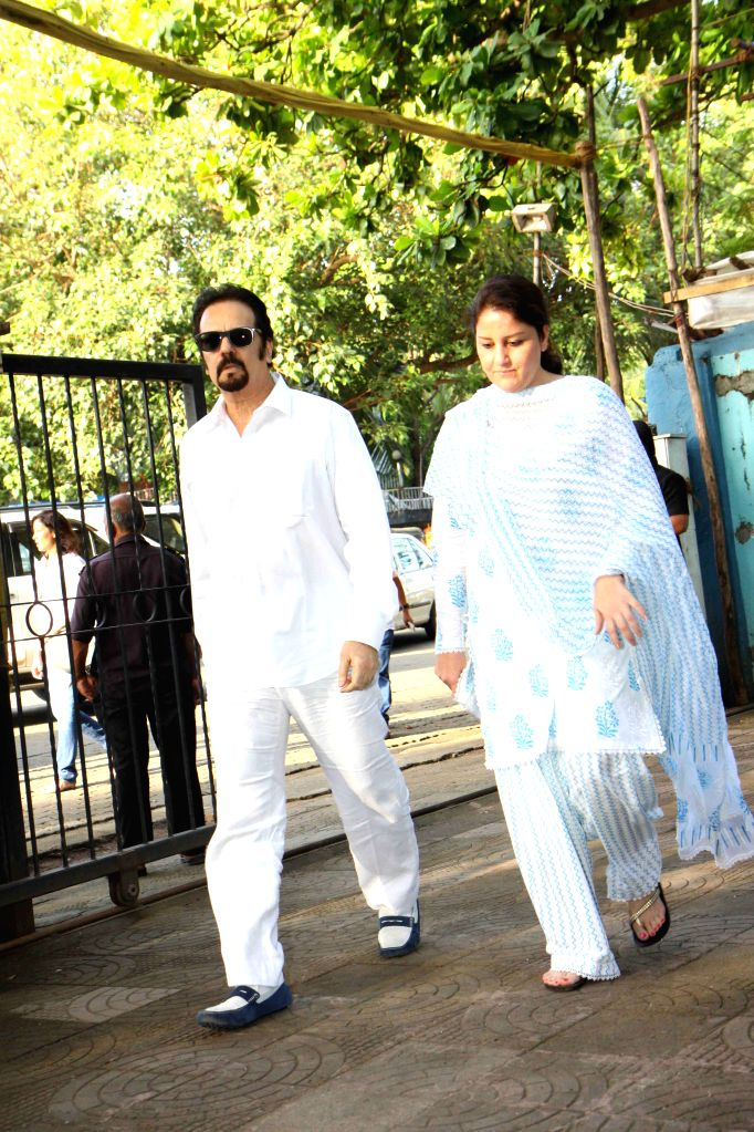 Actor Akbar Khan and his wife during the prayer meet of Pandit Pandharinath Kolhapure, in Mumbai, on Aug 18, 2015. Pandit Pandharinath, who expired on August 15, 2015, is the father of actor ... - Akbar Khan, Shraddha Kapoor and Shivangi Kapoor