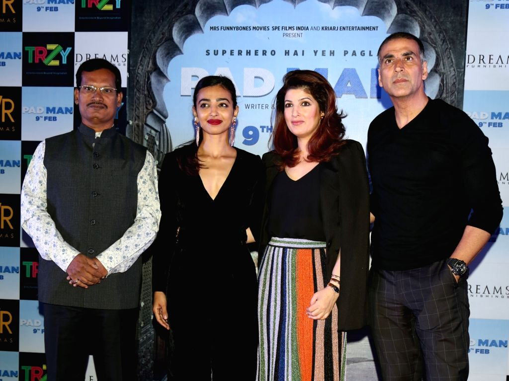 """Actor Akshay Kumar along with his wife Twinkle Khanna and actress Radhika Apte during a press conference to promote their upcoming film """"Pad Man"""" in New Delhi on Feb 5, 2018. - Akshay Kumar and Khanna"""