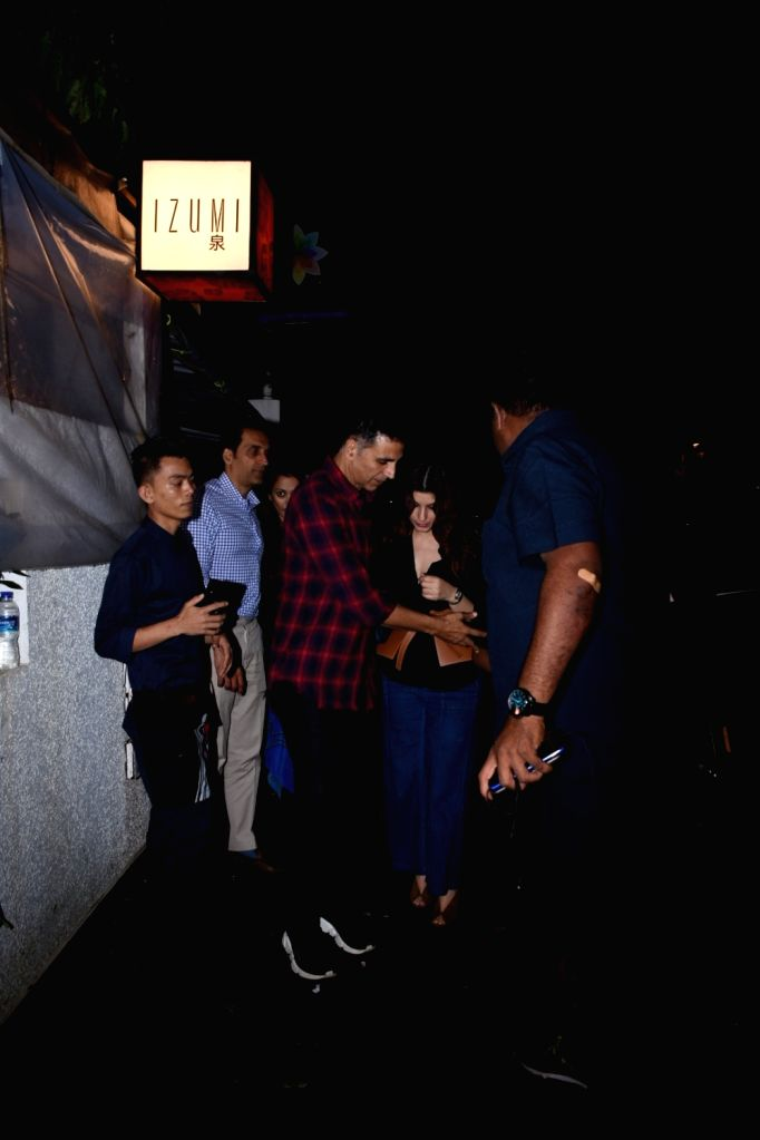 Actor Akshay Kumar and his wife Twinkle Khanna seen in Mumbai on Aug 9, 2019. - Akshay Kumar and Khanna
