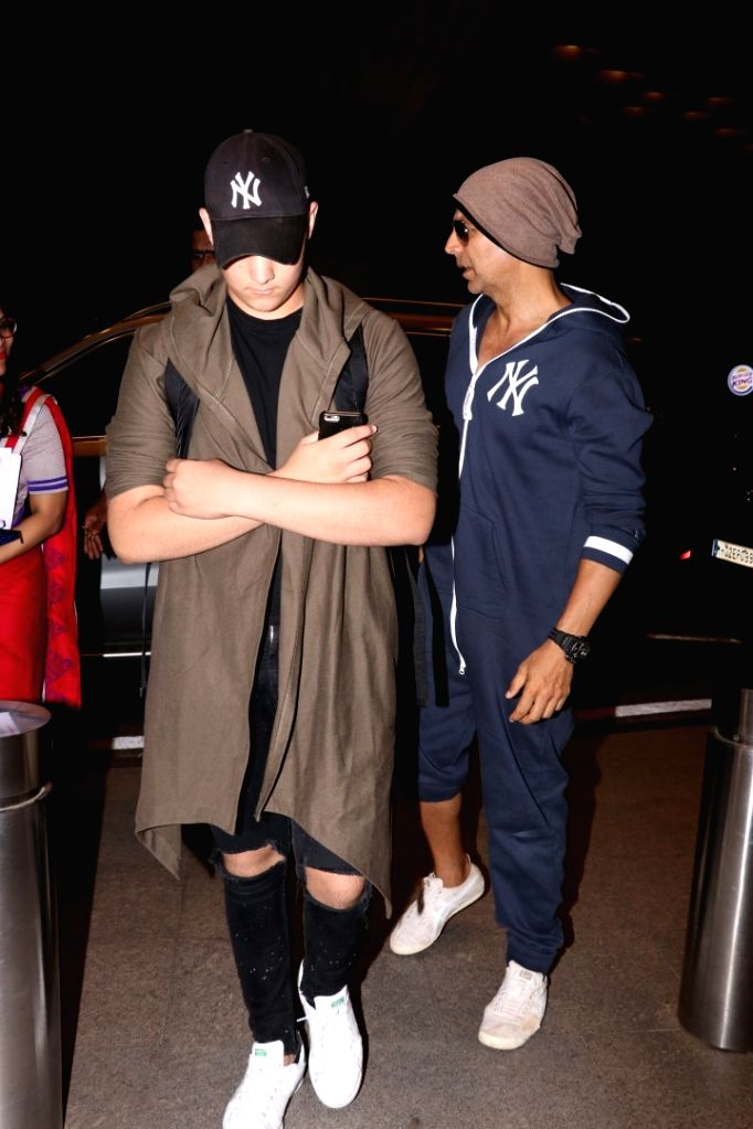 Actor Akshay Kumar and son Aarav spotted at airport in Mumbai on May 31, 2017. - Akshay Kumar