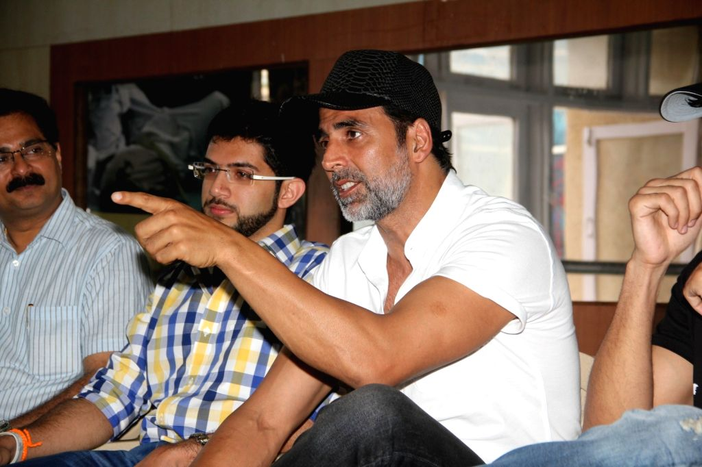 Actor Akshay Kumar and Yuva Sena chief Aditya Thackeray during the graduation day of a self-defence academy in Mumbai, on Aug 17, 2015. - Akshay Kumar
