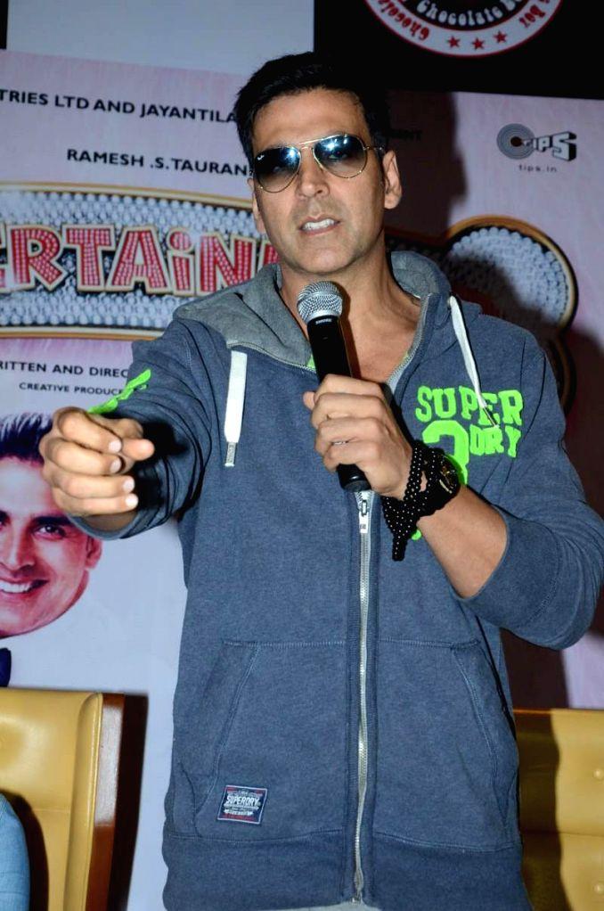 Actor Akshay Kumar during his film `Entertainment` promotional press meet in Hyderabad on Aug 4, 2014. - Akshay Kumar
