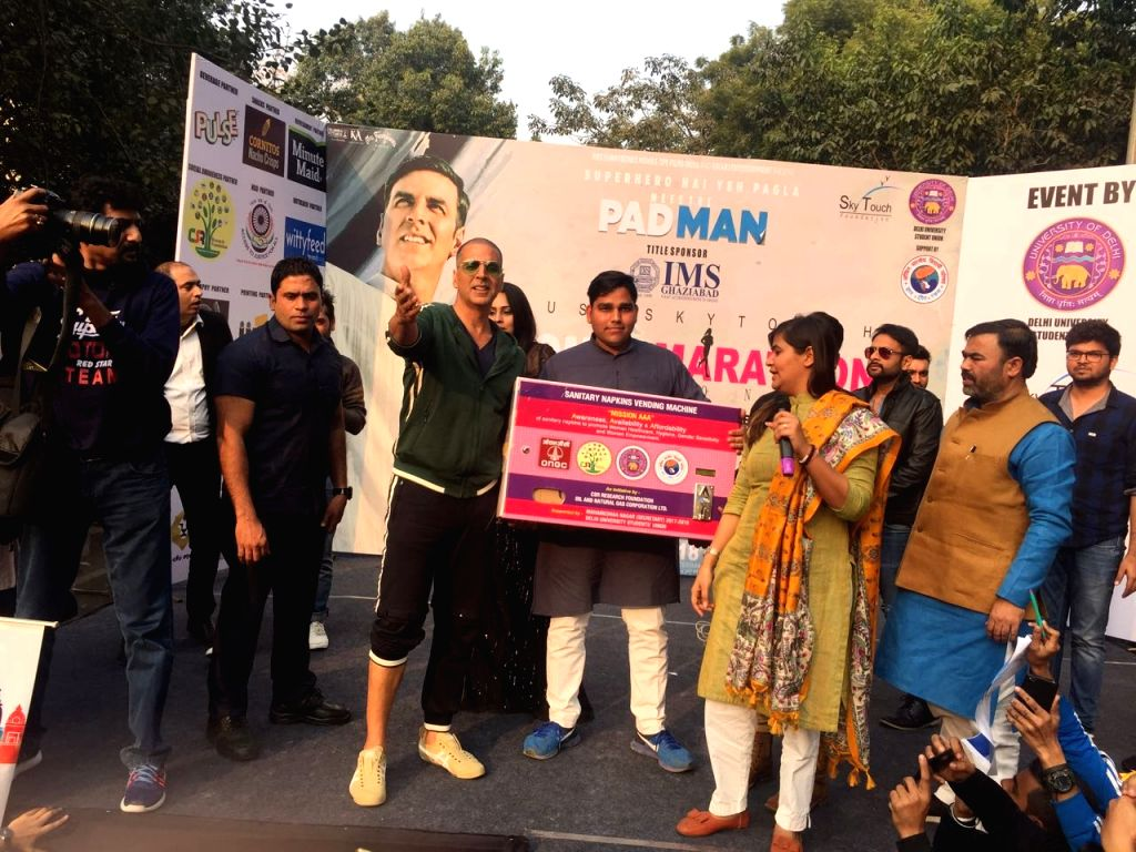 Actor Akshay Kumar during the flagging off ceremony of Women Marathon at Delhi University (DU) on Jan 22, 2018. - Akshay Kumar
