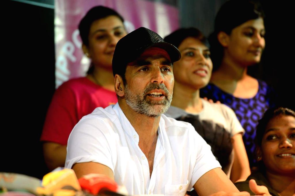 Actor Akshay Kumar during the graduation day of a self-defence academy in Mumbai, on Aug 17, 2015. - Akshay Kumar
