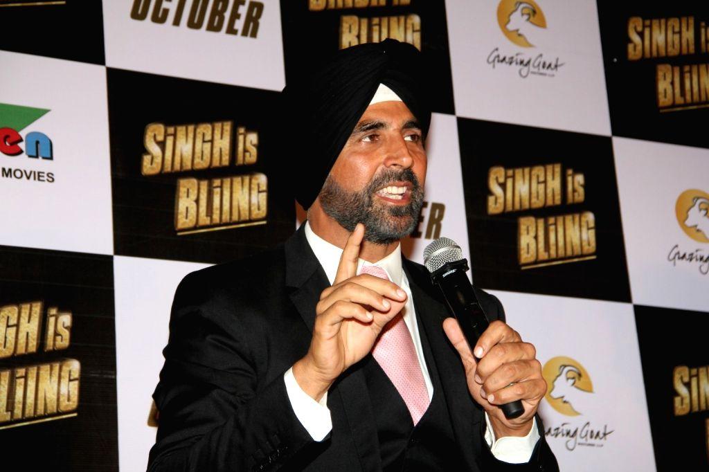 Actor Akshay Kumar during the trailer launch of film Singh Is Bling, in Mumbai, on August 18, 2015. - Akshay Kumar
