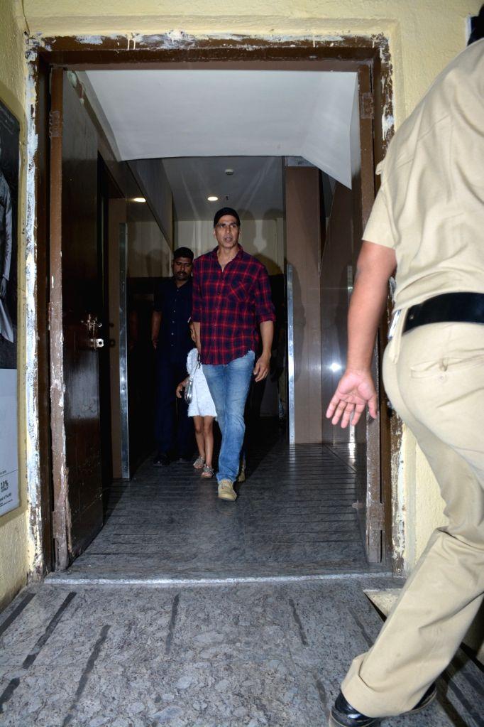 Actor Akshay Kumar seen with his daughter Nitara at Juhu in Mumbai on Dec 5, 2018. - Akshay Kumar
