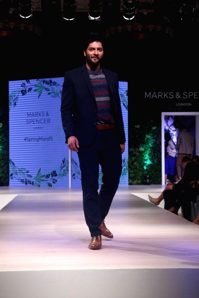 Actor Ali Fazal walks the ramp for fashion brand Marks & Spencer Spring Summer launch 2018 in Mumbai on Feb 8, 2018. - Ali Fazal