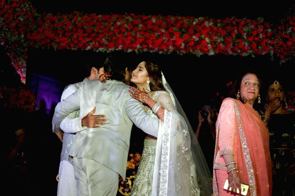 Actor Allu Arjun attends Arya and Sayyeshaa's wedding in Hyderabad. - Allu Arjun