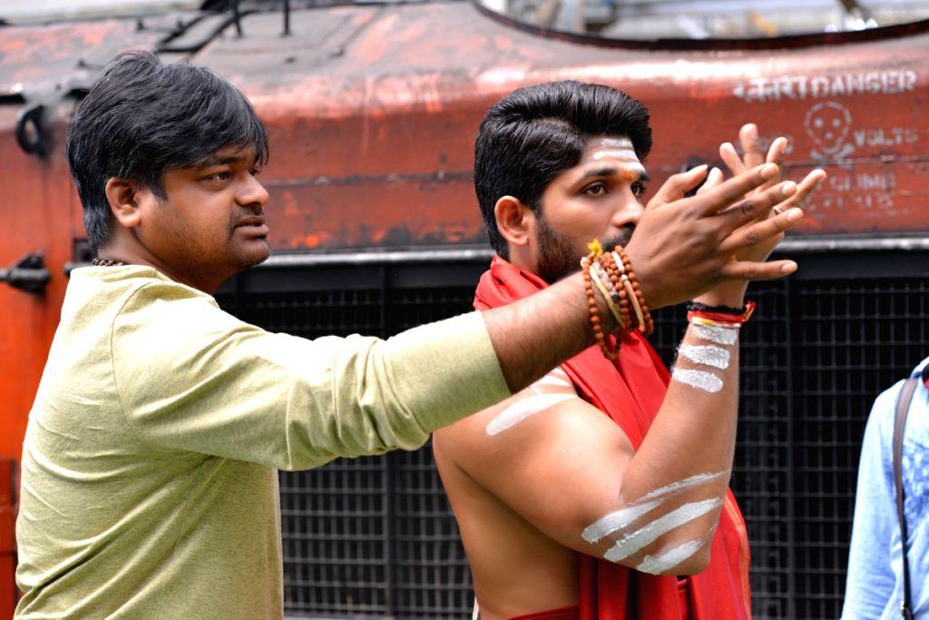 Actor Allu Arjun with film director Harish Shankar on location of film Duvvada Jagannadham. - Allu Arjun