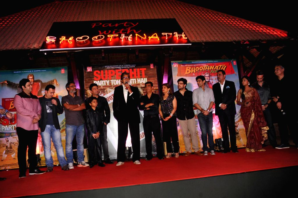Actor Amitabh Bachchan along with the star cast of Bhootnath Returns during the success party of movie Bhootnath Returns in Mumbai on April 16, 2014. - Amitabh Bachchan