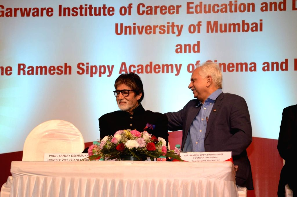 """Actor Amitabh Bachchan and filmmaker Ramesh Sippy during the launch of """"Ramesh Sippy Academy of Cinema and Entertainment"""" in Mumbai on March 9, 2017. - Amitabh Bachchan"""