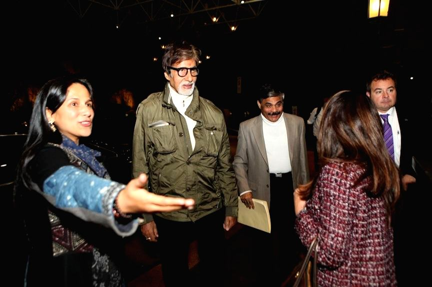 Actor Amitabh Bachchan arrives at Melbourne Airport to participate in the 2014 edition of the Indian Film Festival of Melbourne (IFFM) in Melbourne Australia on April 30, 2014.