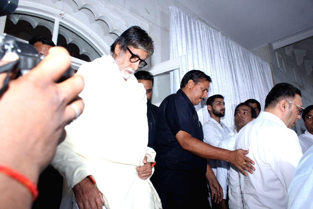 Actor Amitabh Bachchan at the prayer meet organised for late veteran action director Veeru Devgan, in Mumbai, on May 30, 2019. - Amitabh Bachchan