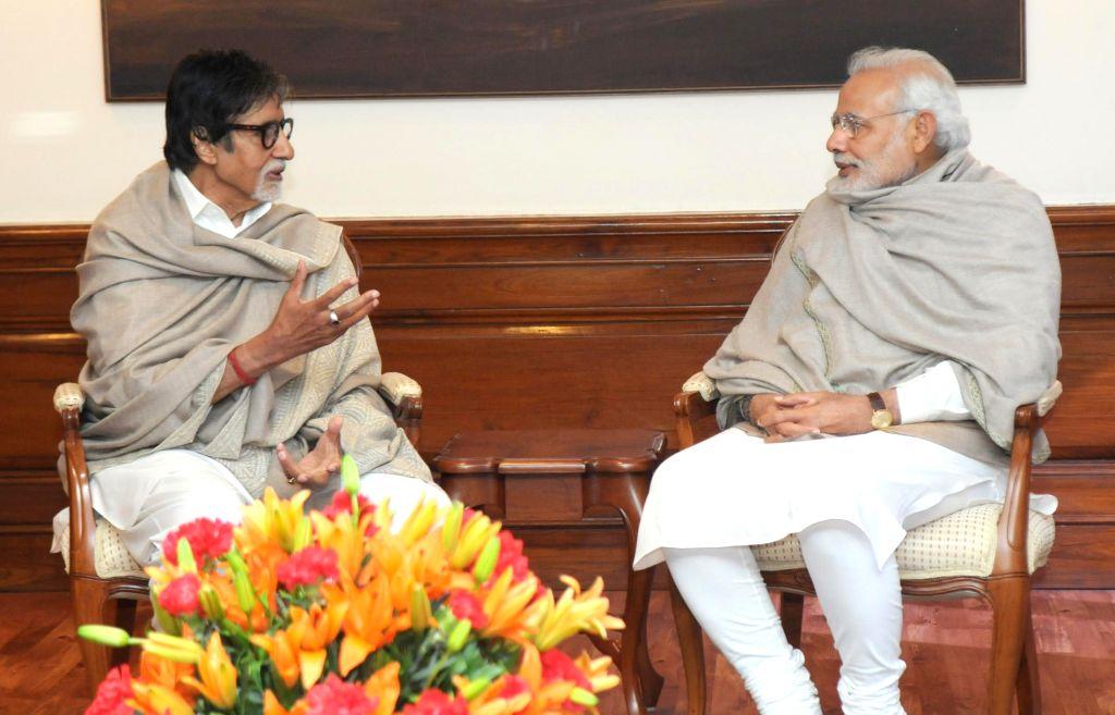 Actor Amitabh Bachchan calls on Prime Minister Narendra Modi, in New Delhi on Dec 20, 2014. - Narendra Modi