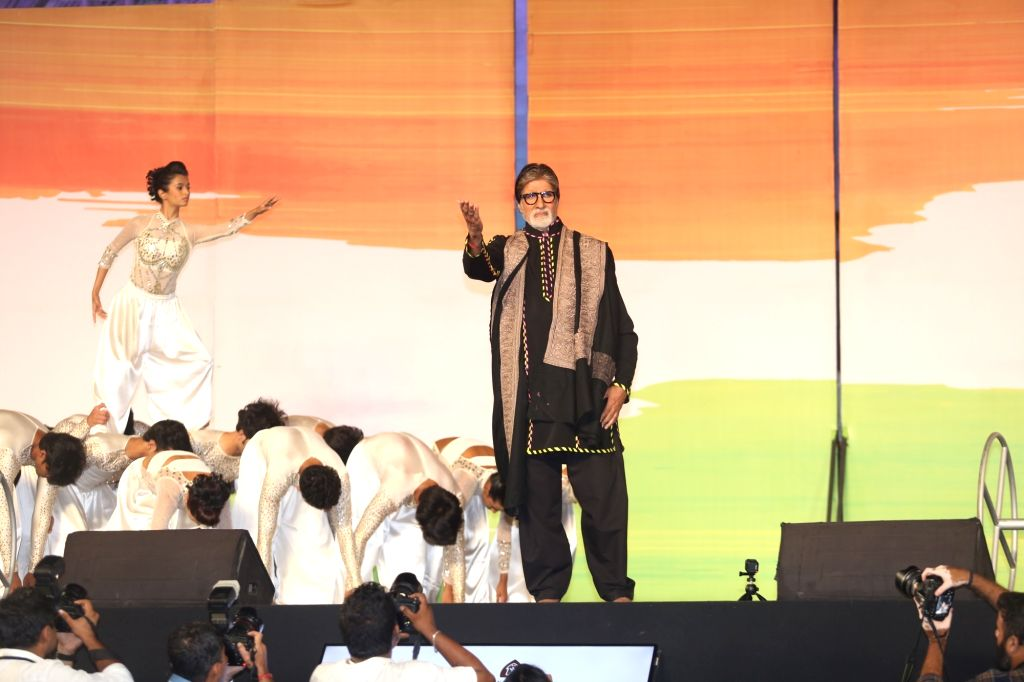 Actor Amitabh Bachchan during a function to pay homage to 26/11 victims at Gateway of India,in Mumbai on Nov 26, 2019. - Amitabh Bachchan