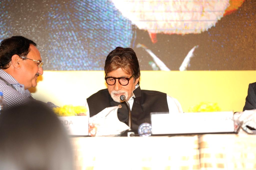 Actor Amitabh Bachchan during the launch of campaign on Hepatitis-B in Mumbai on Nov 23, 2015. - Amitabh Bachchan