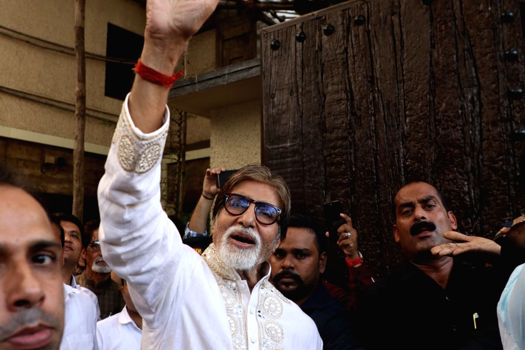 "Actor Amitabh Bachchan greets fans who gathered outside his residence ""Prateeksha"" to wish him on his 77th birthday, in Mumbai on Oct 11, 2019. - Amitabh Bachchan"