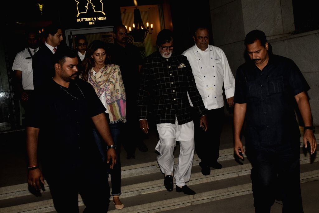 Actor Amitabh Bachchan with her daughter Shweta Bachchan Nanda during a dinner hosted by his son Abhishek Bachchan on his birthday in Mumbai, on Feb 5, 2019. - Amitabh Bachchan, Shweta Bachchan Nanda and Abhishek Bachchan