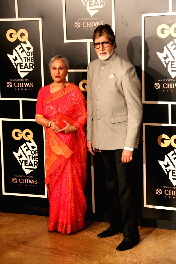 Actor Amitabh Bachchan with his wife and actor Jaya Bachchan during the GQ India Men of the year Award 2016 ceremony, in Mumbai, on Sept 27, 2016. - Amitabh Bachchan and Jaya Bachchan